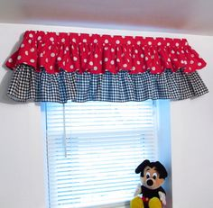 Window Treatments for Kids Ruffled Valance Red and White Polka Dot Curtain. $44.00, via Etsy.