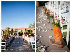 Cowboys boots and flowers. Love this country wedding detail!  The Windmill Winery, Arizona Wedding Venue, Barn Wedding