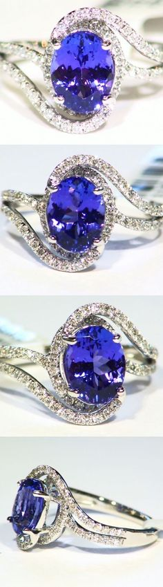 Rings 165014: 2.60Ct 14K Gold Natural Cut Tanzanite White Diamond Vintage Aaa Engagement Ring -> BUY IT NOW ONLY: $1431 on eBay!