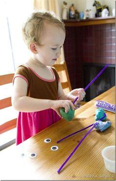 Toddler play dough fun - plus, turn any play dough in to glitter play dough!