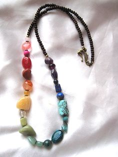 Rainbow gemstone necklace. Chakra jewelry. Colorful Hippie Boho love beads. Turquoise Jasper Agate Amethyst Lapis Carnelian & more by WildThingsAdornments