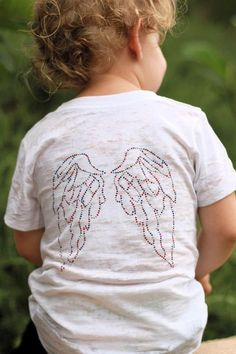The Tiny Hiney America Red, White and Blue Studded Angel Wings Burnout Tee