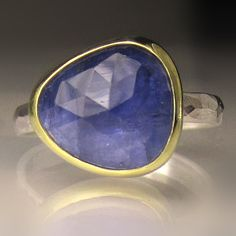 Rose Cut Tanzanite Ring Gold and Sterling by JanishJewels Tanzanite Rings, Cocktail Rings, 18k Gold, Band, Sterling Silver, Stone, Etsy, Sash, Rock