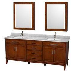 Wyndham Collection Hatton 72 in. Double Bathroom Vanity in Dark Chestnut, White Carrera Marble Countertop, Undermount Square Sink and Medicine Cabinets Double Sink Bathroom, Vanity Cabinet, Single Bathroom Vanity, Bathroom Vanities, Bathrooms, Mirror Bathroom, Bathroom Cabinets, Bathroom Ideas, Modern Bathroom