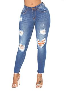 838ca48671a HOTAPEI Women Blue Wash Distressed Slim Fit Stretchy Ripped Skinny Jeans  with Pockets - https