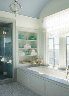 Discover the best beach bathrooms and decor ideas so you can put the best coastal bathroom decor in your home. Beach Bathrooms, Bathroom Spa, Bathroom Interior, Small Bathroom, Master Bathroom, Bathroom Ideas, Glass Bathroom, Budget Bathroom, Bathroom Shelves