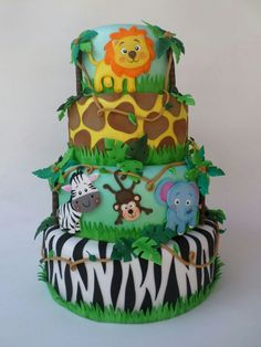 The video consists of 23 Christmas craft ideas. Jungle Birthday Cakes, Jungle Theme Cakes, Boys 1st Birthday Cake, Safari Theme Birthday, Boys First Birthday Party Ideas, Safari Cakes, 1st Birthday Parties, Birthday Party Decorations, Safari Party