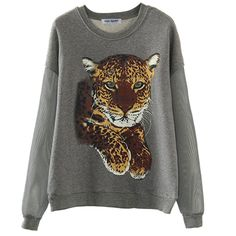 Najia Symbol Womens 3D leopard Pullover sweatshirts with Mesh Sleeves Showomen133 at Amazon Women's Clothing store: