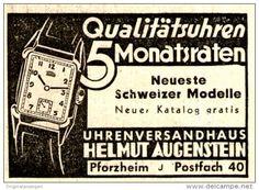 Original-Werbung/ Anzeige 1950 - UHREN VERSANDHAUS HELMUT AUGENSTEIN - PFORZHEIM…