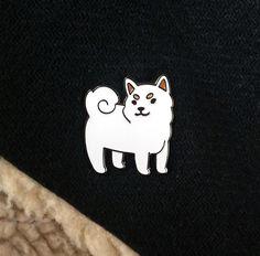 Cream Shiba enamel pin - Thumbnail 1