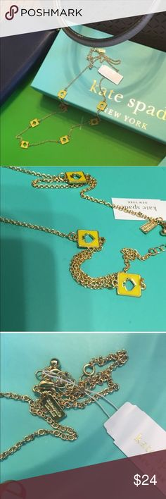 """NWT Kate Spade """"Hole Punch"""" Necklace FLASH SALE! MAKES A GREAT GIFT OR A TREAT FOR YOURSELF AT THIS PRICE POINT!  BEAUTIFUL SPRING COLOR! New with Tags &  Approximately 30"""" in length. This listing is for the gold tone with yellow spades. The greatest thing about this authentic Kate Spade piece is that it can be be reversed and worn as all gold.  Retail price is $68. Comes with KS jewelry dust bag. kate spade Jewelry Necklaces"""