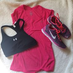 NIKE Dri-Fit Running Shirt Bright pink Nike dri-fit work out shirt. Thinner material, not spandex. Lower cut cut (cute with colored sports bras underneath. Reflective Nike swoosh on front. Excellent condition; worn once. Nike Tops Tees - Short Sleeve