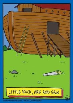 Funny little rock ark and saw pun cartoon