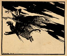 From the tale The Blue Light. 'Before long the Witch came by riding at a furious pace on a tom cat'. Illustration by Arthur Rackham from the book 'Snowdrop and Other Tales' http://www.amazon.com/gp/product/1447477375/ref=as_li_tl?ie=UTF8&camp=1789&creative=9325&creativeASIN=1447477375&linkCode=as2&tag=reaboo09-20&linkId=3M2TE5OS2H4REJZ2