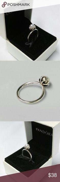 Authentic Pandora Silver Cultured White Pearl Ring Authentic Pandora Silver Cultured Elegance White Pearl Ring 190865P. Preloved condition. Pandora Jewelry Rings