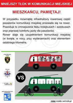 Mniejszy tłok w komunikacji miejskiej / The smaller piston transport #rower #edukacja #ulotka #infografika #bike #education #leaflet #infographic