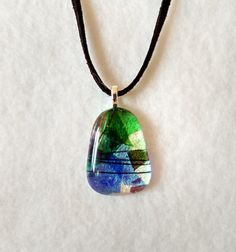 Dichroic Fused Glass Pendant  Glass by StainedGlassYourWay on Etsy