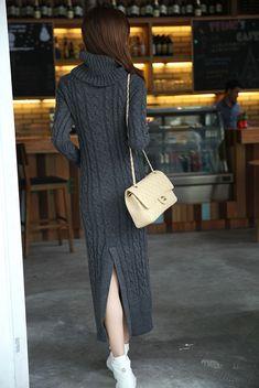 Dark Grey High Neck Split Cable Knit Sweater Dress