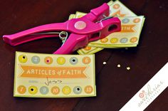Articles of Faith Punch Card.  Great idea for Activity  Days