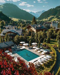 ➳ Λ L E X (@alexpreview) • Instagram photos and videos Beautiful Hotels, Beautiful Places, Alpine Pools, Switzerland Hotels, Gstaad Switzerland, Book A Hotel Room, Hotel S, Travel And Leisure, Hotels And Resorts