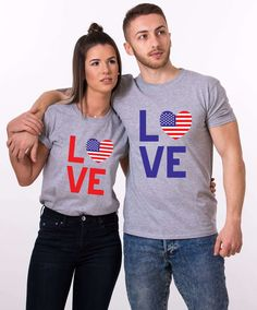 LOVE Shirts, 4th of July, Matching Couple Shirts, Independence Day, Fourth of July, Couple Shirts, Couple Goals, Couple Outfit