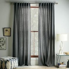 Studded Wool Curtain - Heather Gray - master.  Hang them as high as possible.