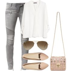 Untitled #585 by clothesofalexie on Polyvore featuring MANGO, Balmain, ASOS, Chloé, Minor Obsessions and Ray-Ban