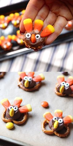 Suburban Simplicity These easy Candy Pretzel Turkey Bites are a tasty and adorable Thanksgiving treat. The perfect dessert idea for your Thanksgiving party or celebration! Kids love them.so do grownups! They're also called Rolo Turkeys! Thanksgiving Cookies, Thanksgiving Food Crafts, Thanksgiving Parties, Thanksgiving Appetizers, Thanksgiving Celebration, Thanksgiving Turkey, Fall Treats, Holiday Treats, Christmas Treats