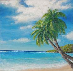 Two palm tree tropical beach scene island by MisunArtStudio, $25.00
