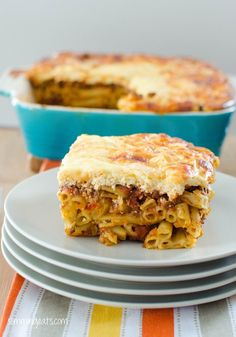 Pastitsio - Pasta Bake with Extra Lean Minced Beef Slimming World Recipes - Slimming Eats