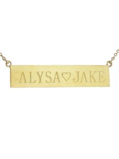 """Personalized Nameplate Necklace - Yellow Gold   2 Sided Engraving - 17""""...Jennifer Meyer"""