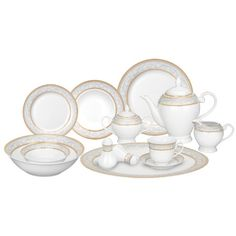 57-piece porcelain dinnerware set with settings for eight people. Includes salt and pepper shakers and a 5-piece tea set.   Product...