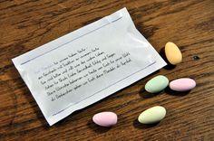 10 genähte Papiertüten mit bunten Hochzeitsmandeln