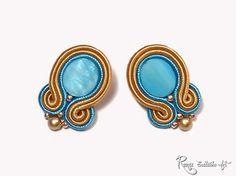 Indian Jewelry Native Light Blue  Earring Gold by RenaSoutacheArt