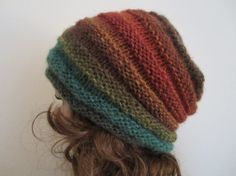 Hand Knit Fall Tones Beanie Soft Hat Womens by handknitpalette, $24.50