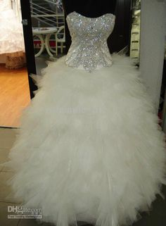 Wholesale 2012 Exquisite Beads Scoop Ball Gown Tiered Organza Crystal White Sweep Lace Up Wedding Dresses, Free shipping, $150.42-169.74/Piece   DHgate