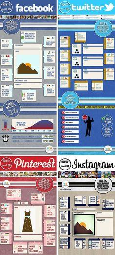 11 règles pour poster sur les médias sociaux, pinterest, twitter, facebook, instagram Facebook