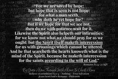 Romans 8:24-27 KJV ✞Grace and peace in Christ! Romans 8 24, Ephesians 2 8 9, Our Savior, 2 Timothy, Jesus Christ, Pray, Faith, God, Dios