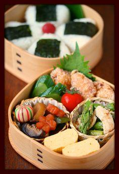 Japanese Bento Lunch (Onigiri Rice Ball, Dashimaki Egg Roll, Nimono Simmered Vegetables, JFC) by ivory_bell