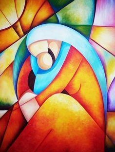 Mami. OSCAR SIR. 2012 Categoria: Pintura Técnica: Oleo OLEO SOBRE LIENZO Soporte: Tela MADERA Y LIENZO Tamaño: Figura40 (100x81) 70 x 100 x 0 OLEO SOBRE LIENZO Y SOPORTE DE MADERA Estilo: Cubismo FIGURA SENTADA ABRAZABDO A SU HIJO