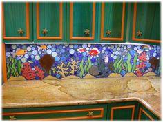 ceramic tile tropical kitchen backsplash, tropical back splash
