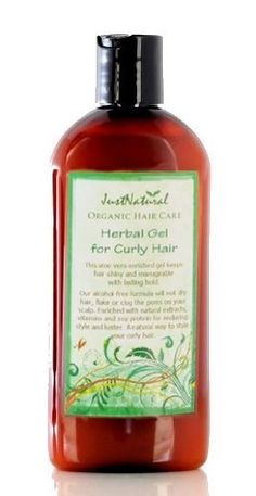 Herbal Gel for Curly Hair by JustNatural. $21.99. Get Lasting Hold! Without using harmful chemicals. This organic gel has vitamins and proteins that strengthen your hair. Dries Clear to Let Your Hair Shine. Gels help add style and beauty to your hair but they may also leave harmful chemicals behind that leave residue. This chemical residue  can build up and cause your hair to become lifeless or lead to scalp  problems. This organic aloe vera enriched gel keeps hair shi...
