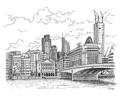 Page from sketchbook - the City of London viewed from St. Saviour's Dock, London SE1 (with London Bridge in the foreground and 20 Fenchurch Street or the 'Walkie Talkie' under construction to the right, 18.6.12)  © Mike Hall