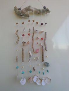 driftwood art mista con conchiglie e corniola di Lilithonline su Etsy