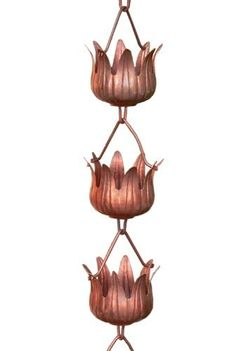 Monarchs Pure Copper Flowerama Rain Chain 8-1/2 Feet Length by Monarch International. Save 8 Off!. $91.75. Each segment of the flower is beautifully etched. Water feature is mesmerizing. Pure copper flowerama rain chain. Chain measures 8.5 feet in length ready to hang in place of existing gutter. Includes V copper hook for easy installation. Monarchs Pure Copper Flowerama Rain Chain 8.5 feet in length. 8.5 feet in length. Each rain chain consists of 20 cups, each cup measu...