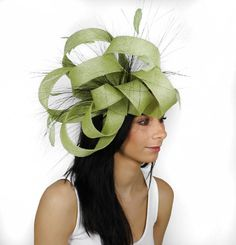 Ralitza Lime Fascinator Hat for Weddings Races by Hatsbycressida 5ebf219d7de
