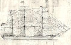 Antique Sailing Prints | YACHTS: Shipbuilding; Rigging plan of Sailing Ship; antique print 1880