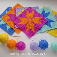 Throw Geometric crochet pattern granny square  granny by bySol