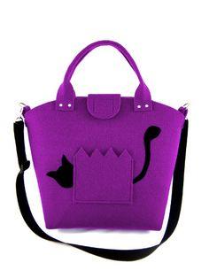 Cat handbag Felt purse Bag for women Purple bag by Torebeczkowo