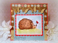 A sweet hedgehog card by Inklined To Stamp using Just Some Lines Little hedgehog stamp. Happy Wednesday, Hedgehog, Stamps, Frame, Sweet, Cards, Seals, Picture Frame, Candy